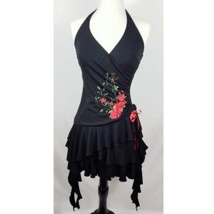 Vintage 90s Rose Halter Salsa Dancing Dress